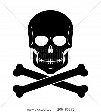 scull and bones black on white background