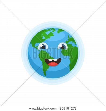 Cute earth character vector photo free trial bigstock world map globe with smiley face icon happy earth day concept gumiabroncs Gallery