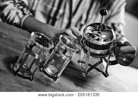 French Press Coffee, Black And White Coffee, Close Up
