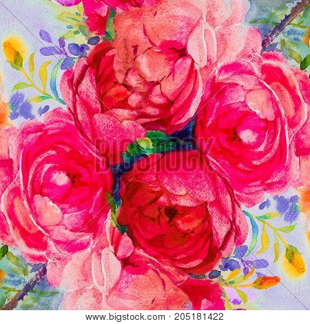 Painting art watercolor landscape original pink, yellow color of the roses and emotion beauty in nature winter season or blue sky background. Hand painted illustration.