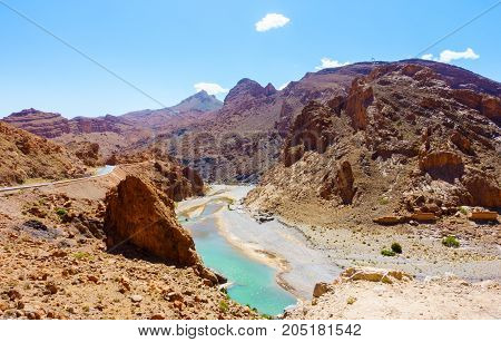 The Ziz river flowing through the Middle Atlas mountains in Morocco Africa.