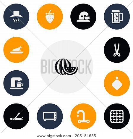 Set Of 13 Editable Meal Icons. Includes Symbols Such As Melon Slice, Faucet, Pot-Holder And More