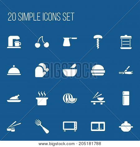Set Of 20 Editable Cook Icons. Includes Symbols Such As Kitchen Glove, Salver, Berry And More