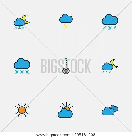 Weather Colorful Outline Icons Set. Collection Of Cloudburst, Lunar, Scale And Other Elements