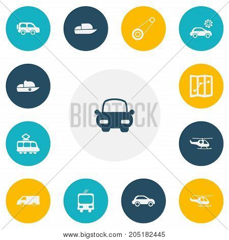 Set Of 13 Editable Transport Icons. Includes Symbols Such As Transportation, Vessel, Garage And More