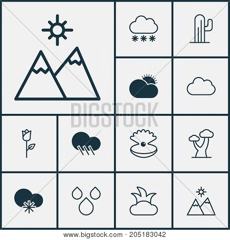 World Icons Set. Collection Of Cloud, Raindrop, Oak And Other Elements