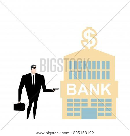Bank Robbery. Robber And Bank Building. Pistol And Mask Of Mugger. Vector Illustration