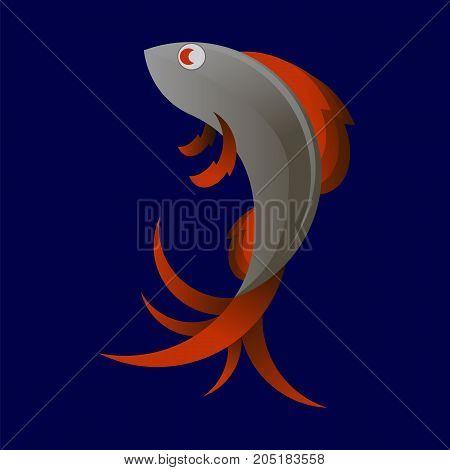 Stylized Sea Fish Icon Isolated on Blue Background