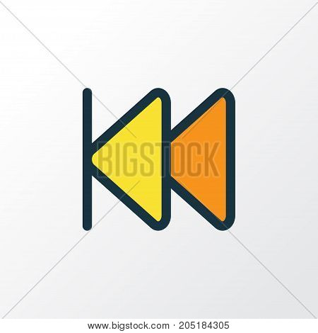 Premium Quality Isolated Rewind Element In Trendy Style.  Previous Colorful Outline Symbol.