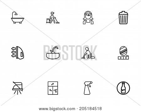 Set Of 12 Editable Cleaning Outline Icons. Includes Symbols Such As Pier Glass, Garbage Bin, Ironing And More