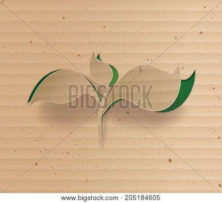 concept of glowing plant from cardbord.leaf cardbord.