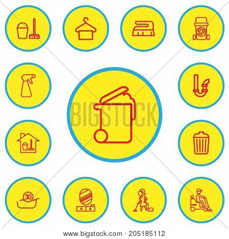 Set Of 13 Editable Cleaning Outline Icons. Includes Symbols Such As Garbage Bin, Spray, Suspender And More