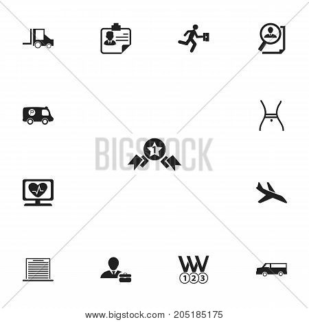 Set Of 13 Editable Complex Icons. Includes Symbols Such As List, Camion, Businessman And More