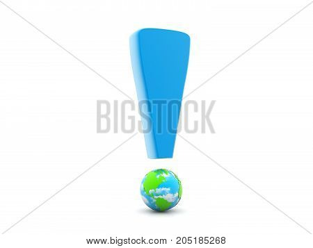 Earth Globe with Exclamation Mark. 3d render