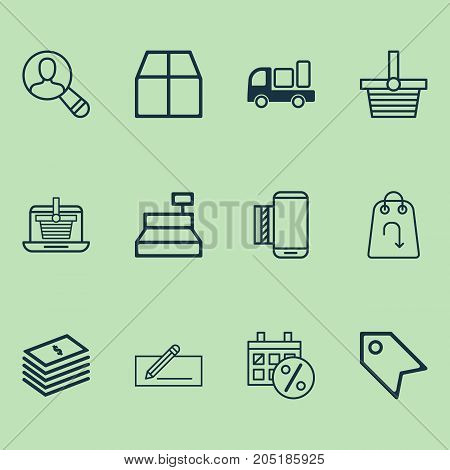 Ecommerce Icons Set. Collection Of Cardboard, Delivery, Price Stamp And Other Elements
