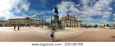 Dresden Germany - August 4 2017: The Opera House is a highlight of the architectural ensemble of the Theater Square of the Saxon capital