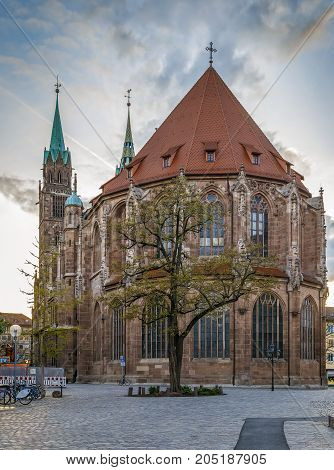 St. Lorenz is a medieval church in Nuremberg Germany. It is dedicated to Saint Lawrence. View from apse