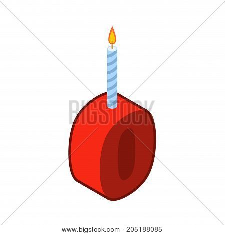 0 Number And Candles For Birthday. Zero Figure For Holiday Cartoon Style. Vector Illustration