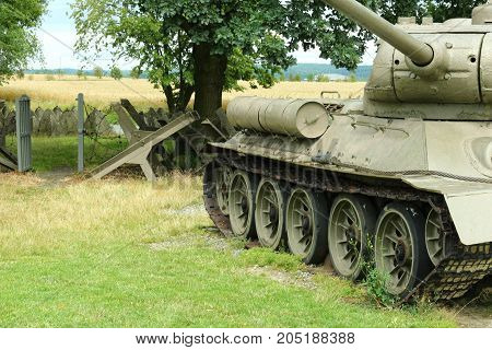 Russia soviet tank pointing to the sky