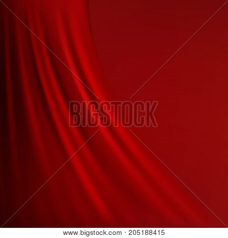 Abstract red background cloth or liquid wave illustration of wavy folds of silk texture satin or velvet material or red luxurious background wallpaper design of elegant curves red material.