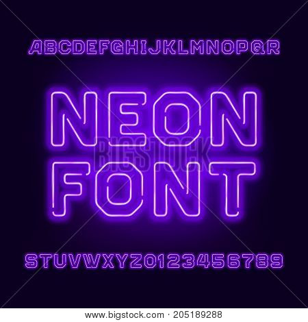 Purple neon tube alphabet font. Neon color letters and numbers. Stock vector typeset for your headers or any typography design.