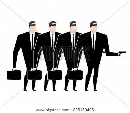 Business Gang Criminal. Businessman Robber. Business Robbery. Vector Illustration