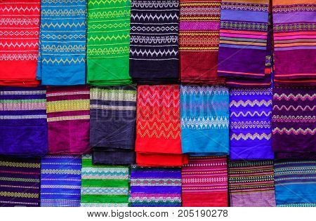 Colorful Textile For Sale At A Traditional Market