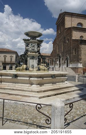 Faenza (Forli Cesena Emilia Romagna Italy): exterior of historic buildings: cathedral facade and fountain