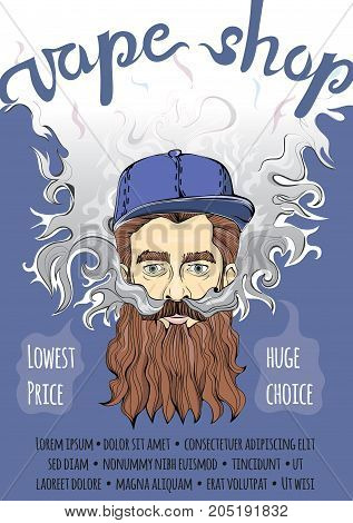 Brutal bearded hipster man making vape cloud. Vaping or smoking. Vector template of advertising poster for vape shop.