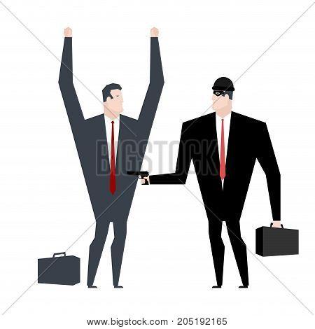 Businessman Robber. Business Robbery. Boss Criminal. Vector Illustration