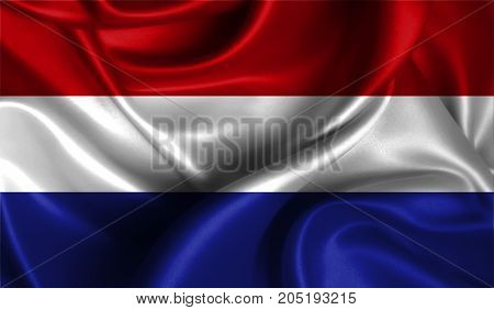 Realistic flag of Netherlands on the wavy surface of fabric. This flag can be used in design