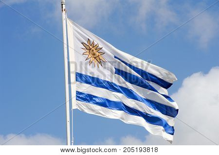 The national flag of Uruguay. The flag was first adopted by law on December 1828 and had 17 stripes until July 1830 when a new law reduced the number of stripes to nine.