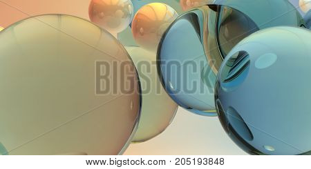 Balls on a background. 3d image. Abstract 3d shapes on background.
