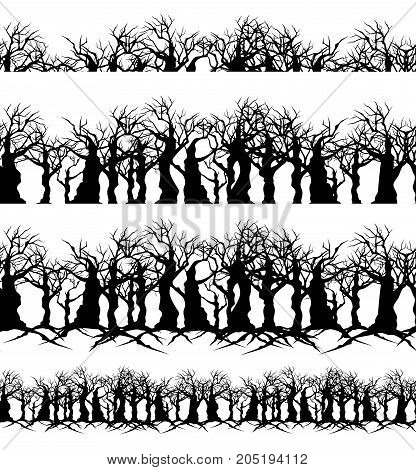 twisted bare trees and branches - creepy black silhouettes seamless vector border set