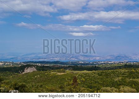 green mountains Corfu, Greece. horizontal shot landscape