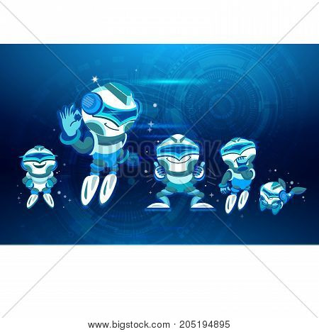 Modern Robots Icons Set Chatbot Artificial Intelligence Technology Concept Soaring up. Digital design in cartoon style. Blue tone. vector illustration