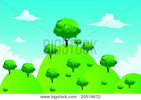 Hill Landscape And Tree Vector Illustration