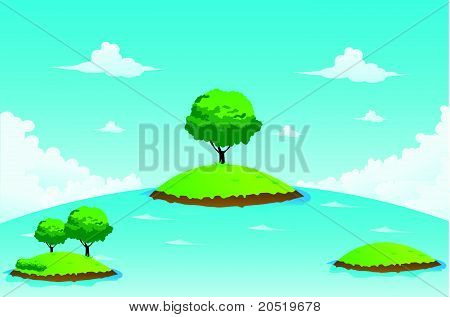 Island and Tree Vector Illustration