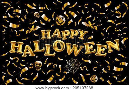 Happy Halloween Gold Glitter Balloon Lettering On Golden Confetti Black Background Greeting Card