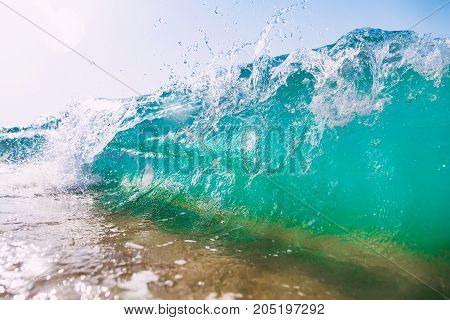 Wave in ocean at sand beach. Turquoise water in Bali, Dreamland