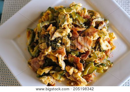 Stir Fried Bitter Melon with Eggs and bacon