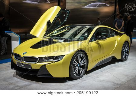 FRANKFURT GERMANY - SEP 12 2017: BMW i8 Protonic Frozen Yellow Edition sports car showcasedat the Frankfurt IAA Motor Show 2017.