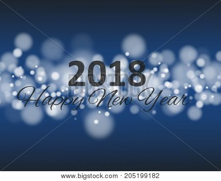 happy new year 2018 in square with bokeh and lens flare pattern blue background eps 10vector