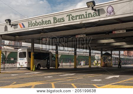 Hoboken NJ USA -- September 19 2017 Photo of the Hoboken Bus Terminal operated by the Port Authority of New York and New Jersey. Editorial Use Only.