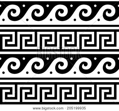 Ancient vector Greek seamless pattern - tradional waves and key pattern form Greece