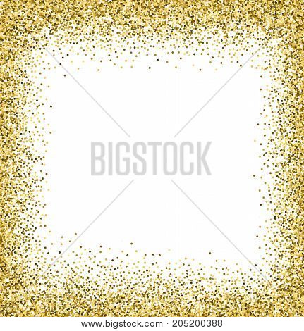 White and gold background with glitter frame and space for text.