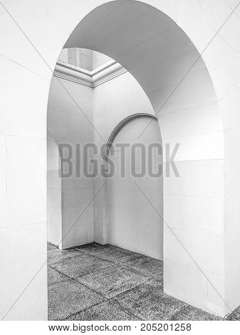 Geometric figures in architecture black and white. Fragment the building the Sochi sea port.