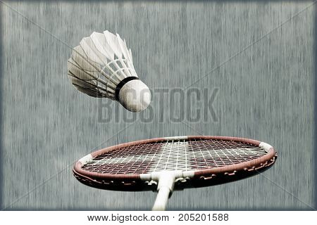 Artistic badminton racket with Danish flag and shuttlecock sky blue.Badminton memory from my sport