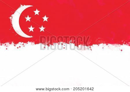 Flag of Singapore by watercolor paint brush grunge style