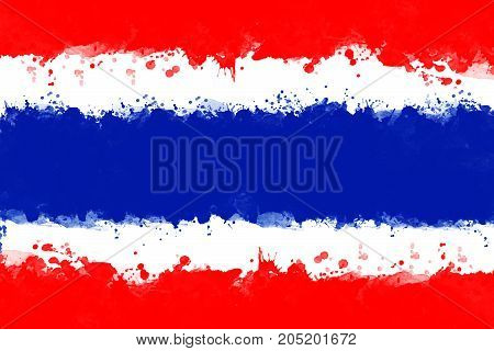 Flag of Thailand by watercolor paint brush grunge style